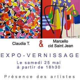vernissage tableau art contemporain Marcello et claudia